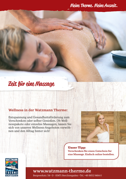 Plakat Massagen und Wellness in der Watzmann Therme